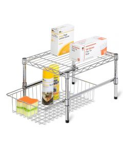 Steel Adjustable Shelf With Under Cabinet Organizer