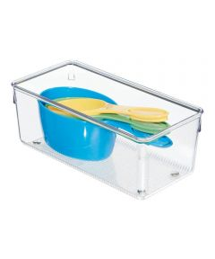 Linus Deep Kitchen Drawer Organizer Bin, Clear, 4x8x3 Inches
