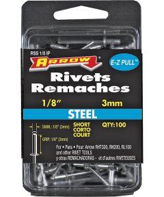 Short Pop Rivet, 1/8 in Dia, Steel