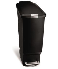 40 Liters/10.6 Gallons Slim Step Trash Can, Black Plastic