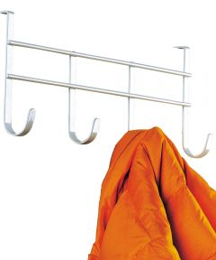 White 4 Hook Over The Door Hook Rack