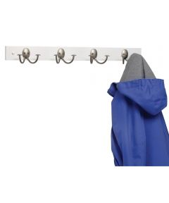 Satin Nickel Wood Coat Rack