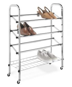 9.38 in. x 24.75 in. x 31 in. Chrome Rolling Shoe Rack
