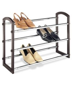 Faux Leather Shoe Rack