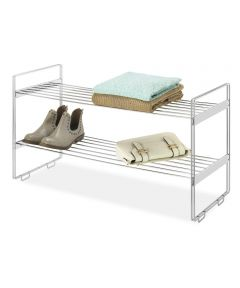 12 in. x 30 in. x 16.6 in. Chrome Stackable Closet Shelf