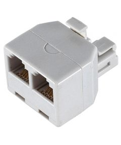 White Duplex Wall Jack Adapter