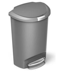 50 Liters/13.2 Gallon Plastic Semi-Round Step Trash Can, Grey