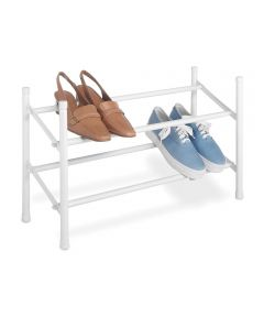 24 in.-45 in. White Stackable & Expandable Shoe Rack