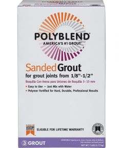 Polyblend Sanded Tile Grout, 7 lb, Box, NO 380 Haystack, Solid Powder