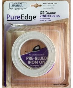 PureEdge Iron On Melamine Wood Veneer Edging Tape, 13/16 in. x 25 ft., White