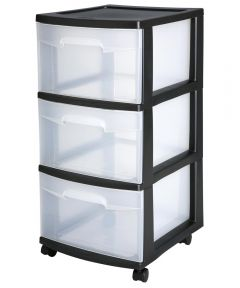 Sterilite 3 Drawer Storage Cart, Black
