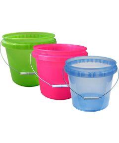 3.5 Gallon Plastic Translucent Pails Assorted Colors