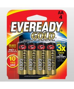 Eveready Gold AA Alkaline Battery, 4 Pack