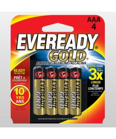 Eveready Gold AAA Alkaline Battery, 4 Pack