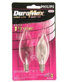 Phillips 60 Watt E12 BA9 DuraMax Incandescent Deco Bent Tip Chandelier Light Bulbs, 2 Pack