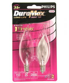 Phillips 25 Watt E12 BA9 DuraMax Incandescent Deco Bent Tip Chandelier Light Bulbs, 2 Pack