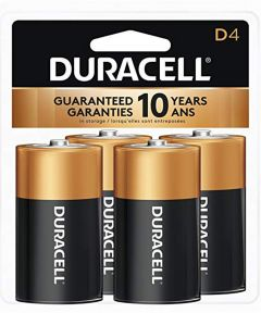 Duracell CopperTop D Alkaline Battery, 4 Pack