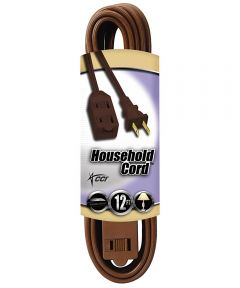 12 ft. 16/2 Indoor Cube Tap Extension Cord, Brown