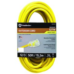 Southwire 50 ft. 12/3 SJTW 15 Amp Heavy-Duty Outdoor Extension Cord with Lighted Power End