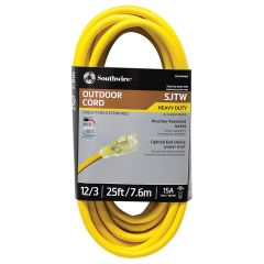 Southwire 25 ft. 12/3 SJTW 15 Amp Heavy-Duty Outdoor Extension Cord with Lighted Power End