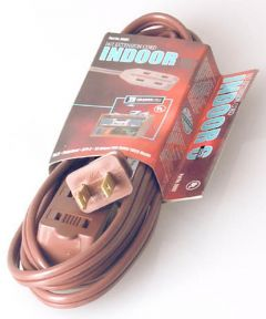 15 ft. 16/2 Indoor Cube Tap Extension Cord, Brown