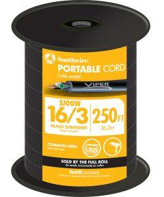 Black 16 Gauge 3 Wire Portable Cord (Sold Per Foot)