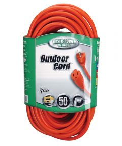 50 ft. 16/3 Round Orange Extension Cord