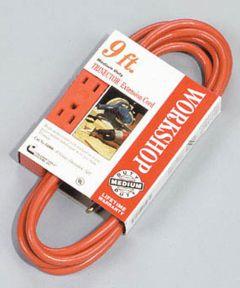 9 ft. 16/3 Orange Trinector Three-Way Power Extension Cord