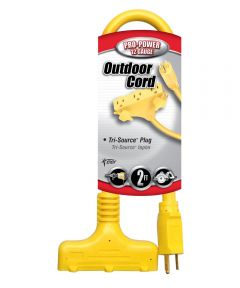 2 ft. 12/3 Yellow 3-Way Power Block Multi-Outlet Extension Cord