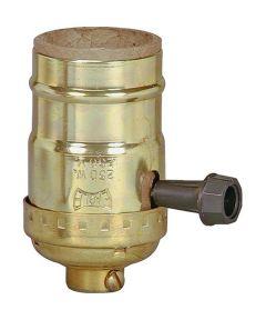 Lamp Socket with Turn Knob, Brass Finish