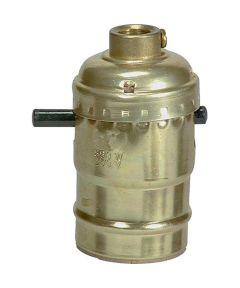 Lamp Socket with Push Through, Brass Finish