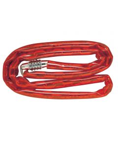 4 ft. Red Welded Steel Chain &  Integrated Combination Lock