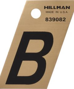 1.5 in. Black and Gold Adhesive Letter B, Angle Cut Mylar