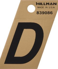 1.5 in. Black and Gold Adhesive Letter D, Angle Cut Mylar