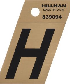 1.5 in. Black and Gold Adhesive Letter H, Angle Cut Mylar