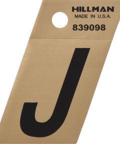 1.5 in. Black and Gold Adhesive Letter J