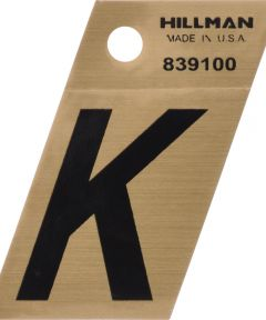 1.5 in. Black and Gold Adhesive Letter K, Angle Cut Mylar