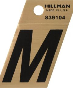 1.5 in. Black and Gold Adhesive Letter M, Angle Cut Mylar