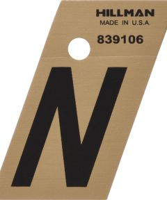 1.5 in. Black and Gold Adhesive Letter N, Angle Cut Mylar