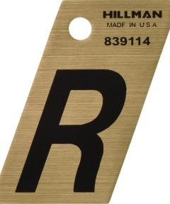 1.5 in. Black and Gold Adhesive Letter R, Angle Cut Mylar