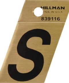 1.5 in. Black and Gold Adhesive Letter S, Angle Cut Mylar