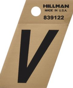 1.5 in. Black and Gold Adhesive Letter V, Angle Cut Mylar
