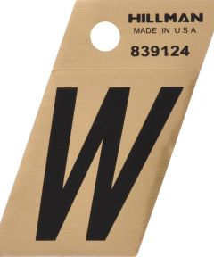 1.5 in. Black and Gold Adhesive Letter W