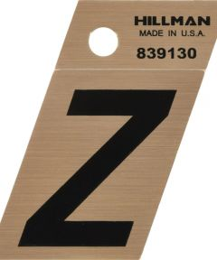 1.5 in. Black and Gold Adhesive Letter Z, Angle Cut Mylar