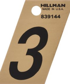 1.5 in. Black and Gold Adhesive Number 3, Angle Cut Mylar