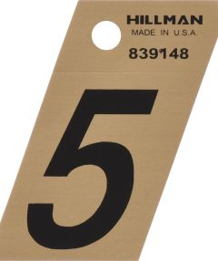 1.5 in. Black and Gold Adhesive Number 5, Angle Cut Mylar