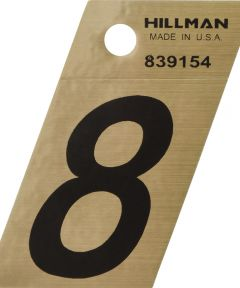 1.5 in. Black and Gold Adhesive Number 8, Angle Cut Mylar