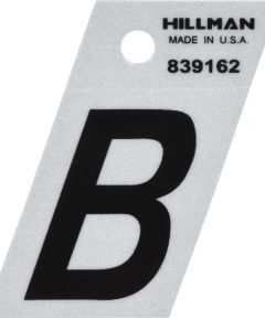 1.5 in. Black and Silver Reflective Adhesive Letter B