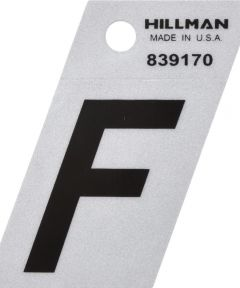 1.5 in. Black and Silver Reflective Adhesive Letter F