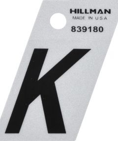 1.5 in. Black and Silver Reflective Adhesive Letter K